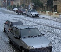 Gozo turns white after a freak heavy hailstorm this morning