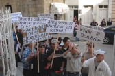 Nadur residents in protest outside Bishops Palace in Victoria