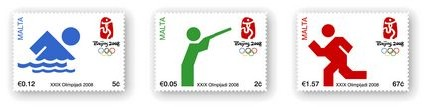 New three-stamp set issue commemorates Beijing Olympics