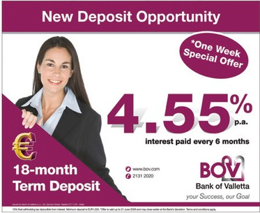 BOV launches Euro Term Deposit at 4.55% p.a.