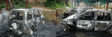 BirdLife volunteers cars torched and destroyed this morning