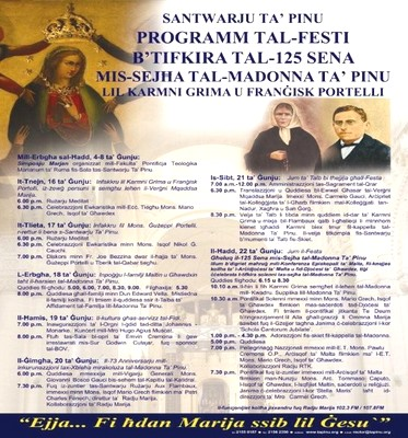 125th Anniversary of the Calling of Our Lady of Ta' Pinu