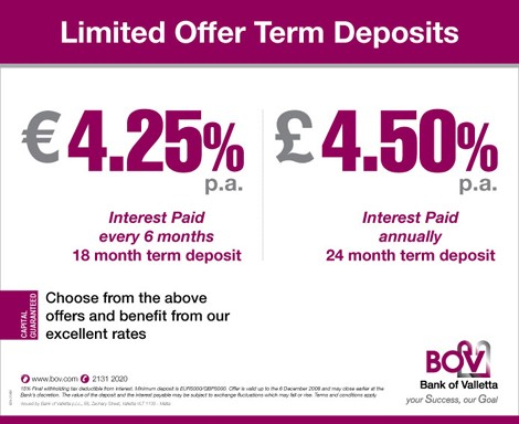 New BOV term deposit accounts in sterling and euro