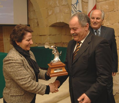 Mr Sammy Rapa receiving the 'Tourism worker of the year - Gozo 2008' award