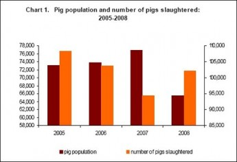 Pig stock down by 14.6% in Gozo and Comino, 14.8% in Malta