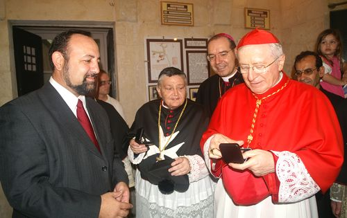 Silver Replica St Paul Stamp presented to Cardinal Ennio Antonelli