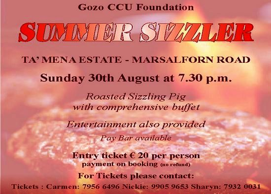 Summer Sizzler in aid of Gozo CCU Foundation