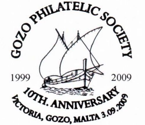 Special hand postmark for 10th anniversary of Gozo Philatelic Society