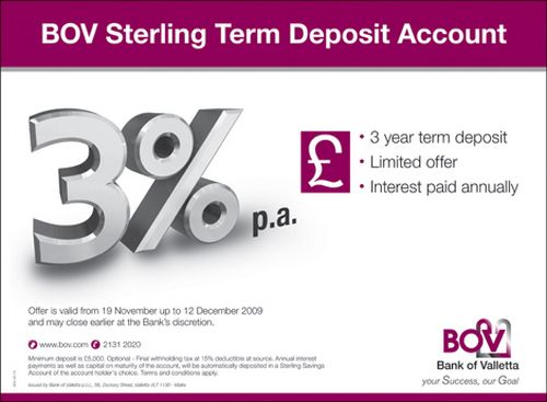 New Limited Offer - BOV Term Deposit Account in Sterling