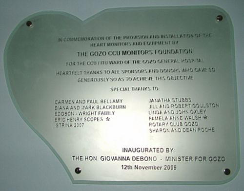 The Gozo CCU Plaque at Gozo General Hospital