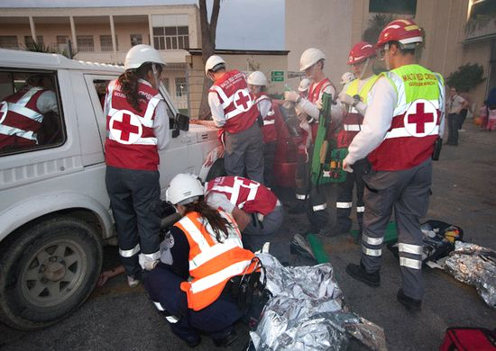 Multiple casualty incident simulation at Arkadia parking