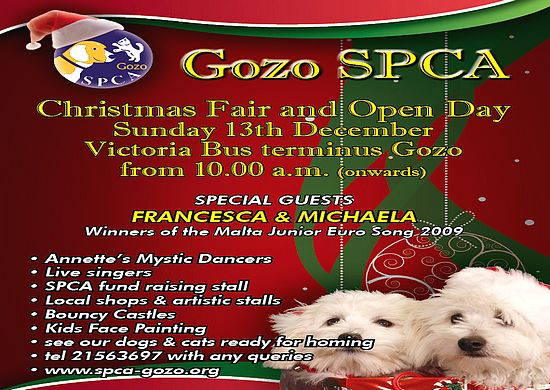 Gozo SPCA Christmas Fair and Open Day next weekend