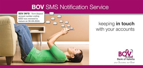 SMS notification service from Bank of Valletta