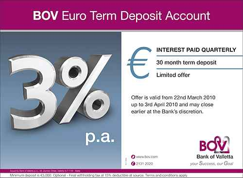 New 3%, 30 Month Term Deposit Account from BOV