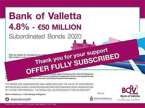 BOV Bond Issue has been over-subscribed