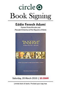 Book Signing by Eddie Fenech Adami to be held at Arkadia