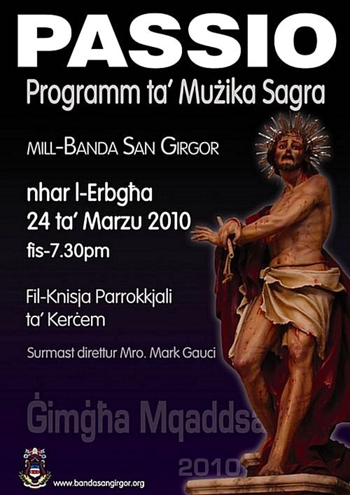 'PASSIO' a concert of sacred music to be held at Kercem