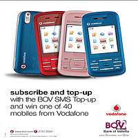 Vodafone mobile phones to be won with BOV SMS top up