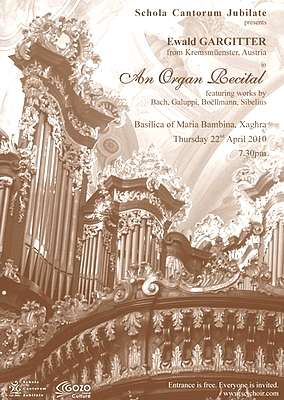 Xaghra Organ Recital cancelled due to volcanic ash