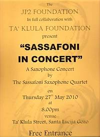 'Sassafoni in Concert' this Thursday in Santa Lucija, Gozo