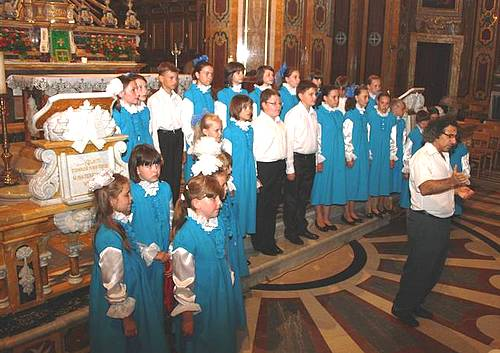Concert of sacred music held with childrens choir Aquavarel