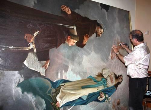 Ghajnsielem altar painting undergoing conservation work