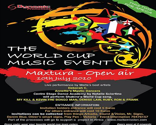 The World Cup Music Event to be held at Maxtura, Gozo