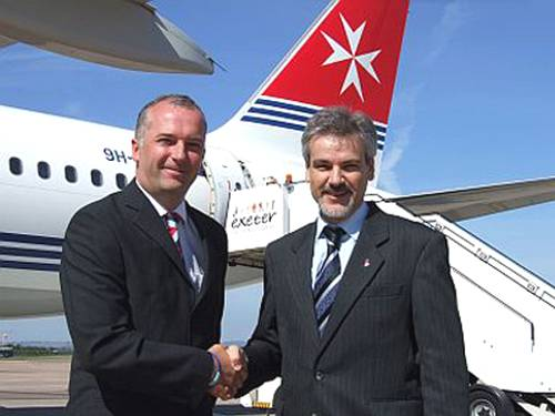 Air Malta celebrates 20 years of operating at Exeter Airport