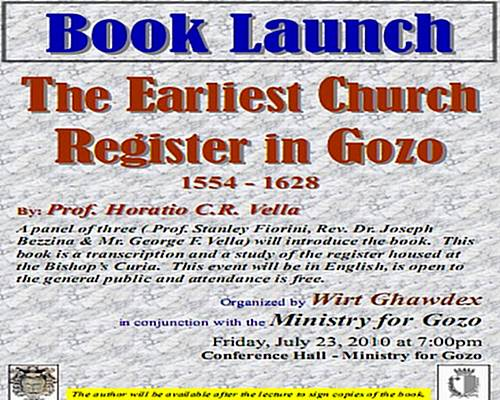 The Earliest Church Register in Gozo - Book launch