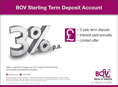 BOV limited offer of Sterling 3 YearTerm Deposit Account
