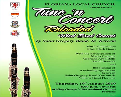 Tune 'n Concert in Floriana with Kercem's St Gregory Band