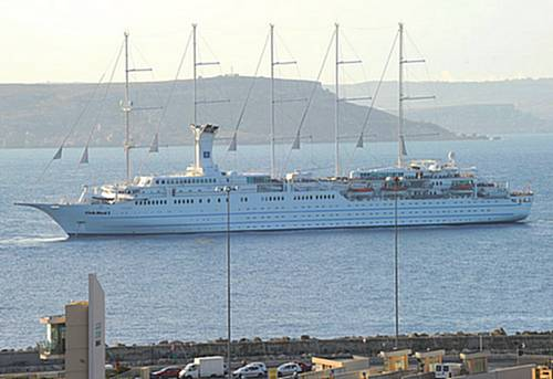 The Cruise Ship Club Med II visits Gozo's Mgarr Harbour