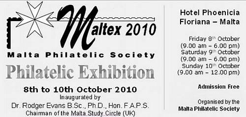 XI Maltex 2010 Philatelic Exhibition being held next month