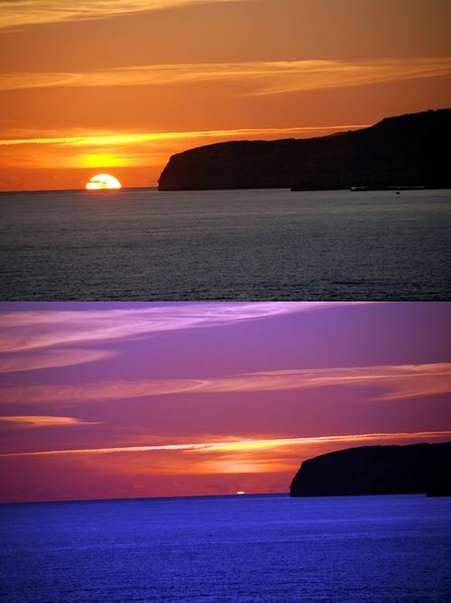 A colourful Gozo sunset photographed from the ferry