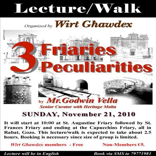 'Three Friaries Three Peculiarities' - A tour by Godwin Vella