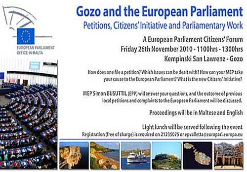 Gozo & the European Parliament Citizens Forum & Petitions