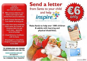 Send a letter from Santa to your child and help Inspire
