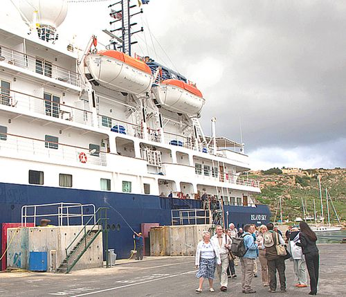 Cruise ship MS Island Sky stops off for brief visit to Gozo
