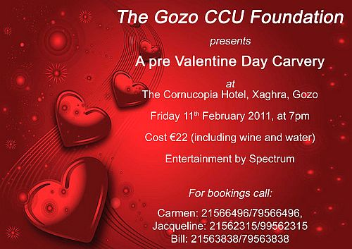 Pre Valentine's Day Carvery with the Gozo CCU Foundation