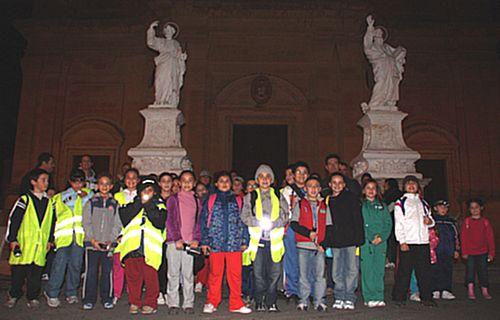 Victoria Primary School children participate in a night hike