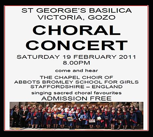 Eminent English girls choir to perform at St George's Basilica