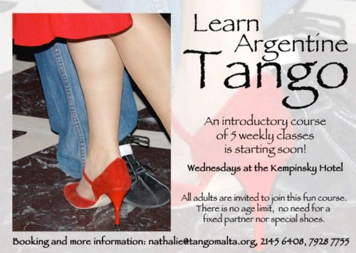 Argentine Tango Course to be held at the Kempinski Hotel