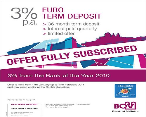 BOV 3% Euro Term Deposit Account over subscribed