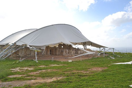Gale force winds damage protective shelter at Hagar Qim
