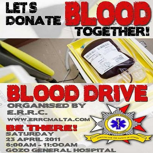 E.R.R.C. blood drive on Saturday at the Gozo Hospital