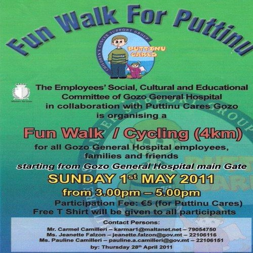 4Km Fun Walk & Cycle for Puttinu Cares Gozo this Sunday