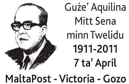 Special hand postmark, Guze' Aqulina Mitt Sena minn Twelidu