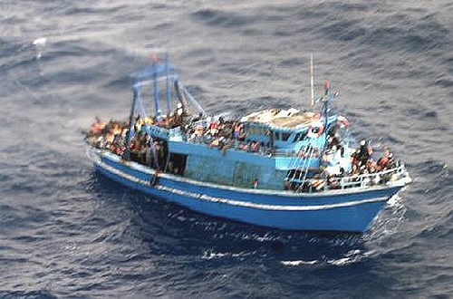 Libyan migrants rescued off the waters near Lampedusa