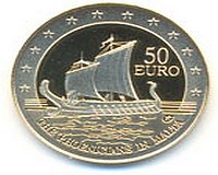 Issue of numismatic coin, Explorers The Phoenicians in Malta