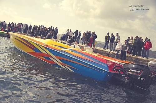 Gozo boats competing in St Paul's Bay Powerboat Grand Prix